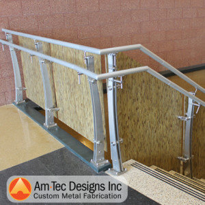 Aluminum stairs fabricated by Am-Tec Designs, Inc. for Duluth Lincoln Elementary School